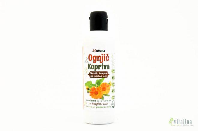 Naravni šampon za mastne in normalne lase – Ognjič & Kopriva (200ml)